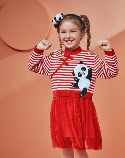 太平鸟童装女童春秋可爱熊猫装饰盘扣设计服儿童裙子
