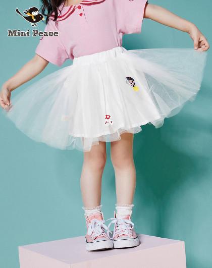 【新品】太平鸟童装夏季女童卡通刺绣公主网纱半身裙儿童裙子
