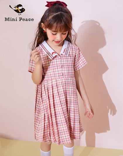 【新品】【樱桃小丸子】太平鸟童装女童夏季蝴蝶结格纹连衣裙