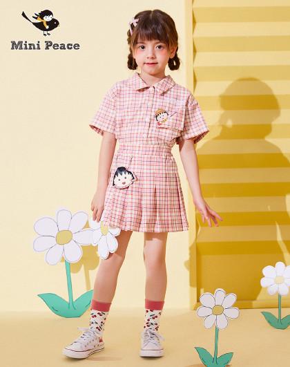 【新品】【樱桃小丸子】太平鸟童装女童夏季洋气格纹百褶短裙