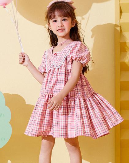 【新品】【樱桃小丸子】太平鸟童装女童夏季格纹花边领连衣裙