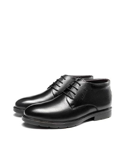 奥康 2018冬季新品正品男士加绒保暖商务休闲高帮棉鞋办公室皮鞋