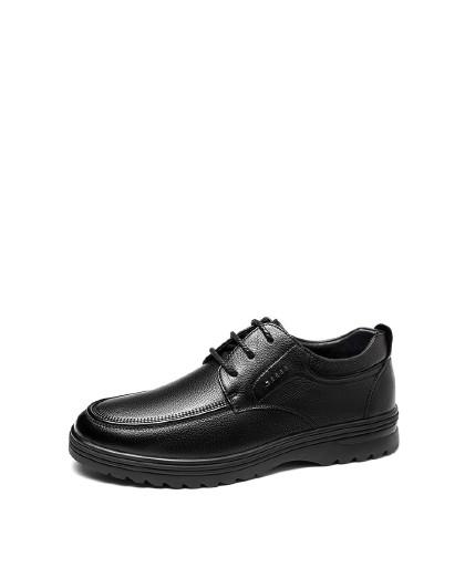 奥康 男鞋2019冬季新款商务皮鞋男加绒保暖冬季棉鞋低帮系带休闲鞋
