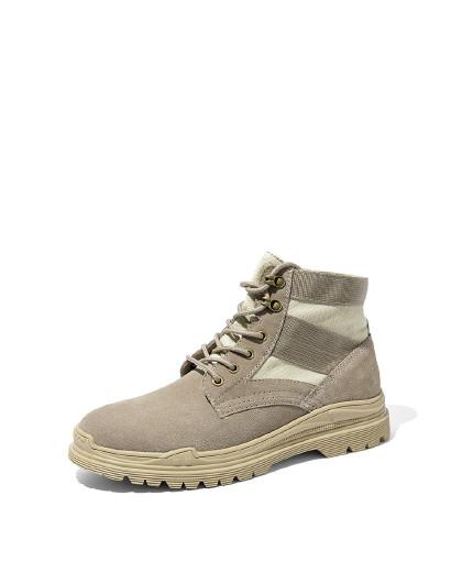 奥康 冬季男士马丁靴简约时尚休闲牛反绒纯色橡胶底系带