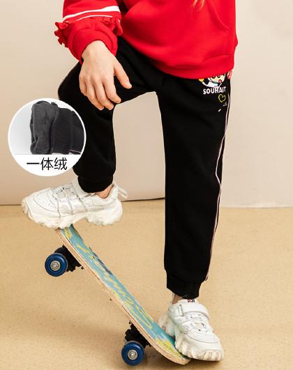 童装女童中大童冬装新款保暖一体绒长裤