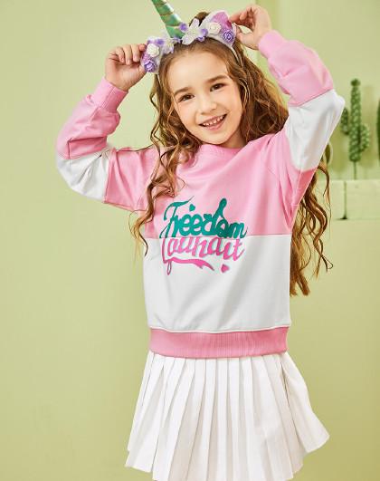 水孩儿 童装春装热卖款女童时尚套头卫衣