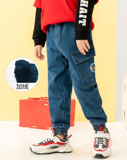 【人气热卖款】男童加绒牛仔裤加厚收口长裤