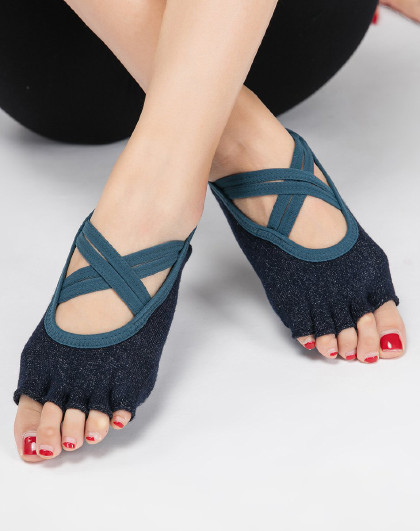 专业瑜伽舞蹈防滑五指袜子 银丝浅口露趾袜 耐磨防滑蹦床瑜伽袜子