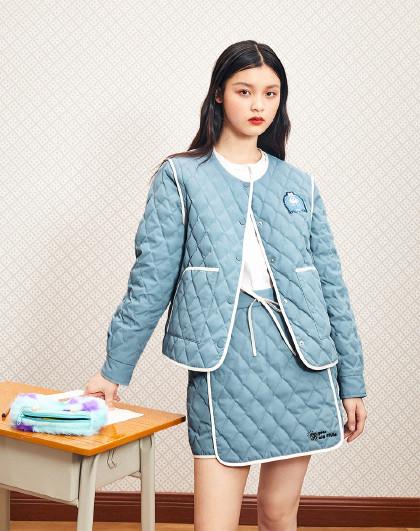 【怪兽大学联名】太平鸟浅蓝两穿羽绒外套半裙2020新款