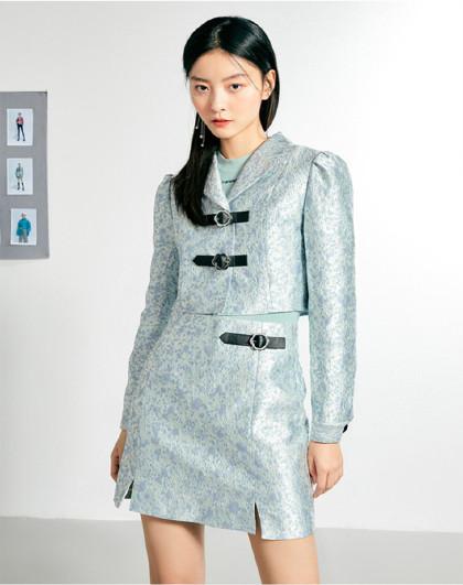 女士时尚套装两件套2021年春季新款皮扣刺绣提花元素套装女