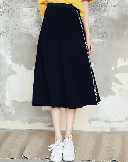夏季韩版女装学院风松紧腰印花显瘦中长A字半身裙