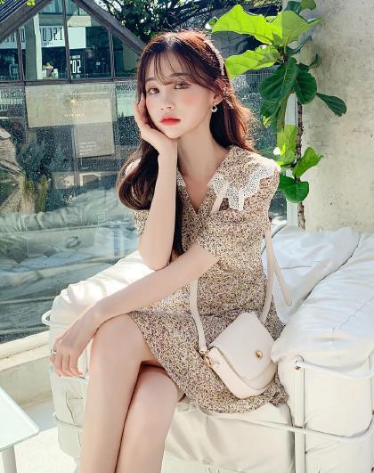 韩都衣舍 韩版女装夏装韩版碎花收腰气质雪纺连衣裙