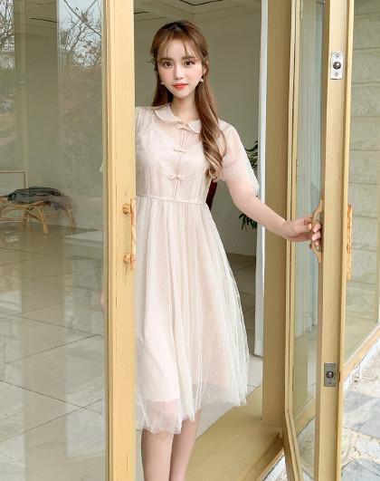 韩版女装春装仙女裙子气质复古网纱国风连衣裙