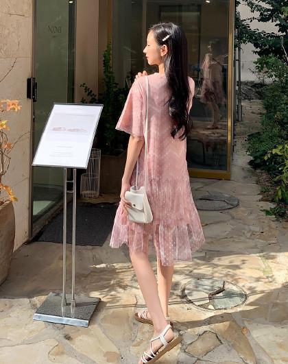 韩版女装夏装韩版短袖网纱仙女荷叶边连衣裙