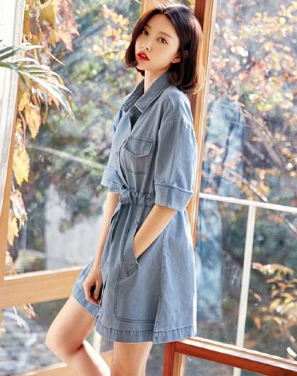 夏装韩版女装牛仔衬衫裙宽松连衣裙