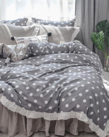 全棉简约公主风被套床单亲肤床上四件套床上用品纯棉四件套