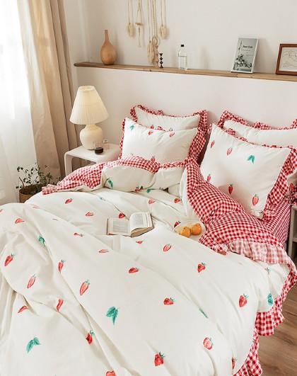 ins风全棉印花学生宿舍被套床单四件套纯棉床上用品四件套