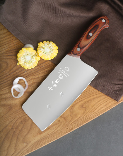 十八子作 女士菜刀家用刀具不锈钢花梨木手柄切片切肉刀阳江十八子刀具菜刀