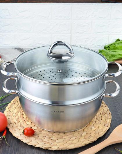 乐扣乐扣 28CM 2层加厚不锈钢双层蒸锅汤锅