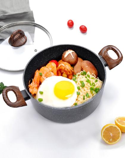 乐扣乐扣 4.1L麦饭石色双耳可视化锅盖24cm汤锅