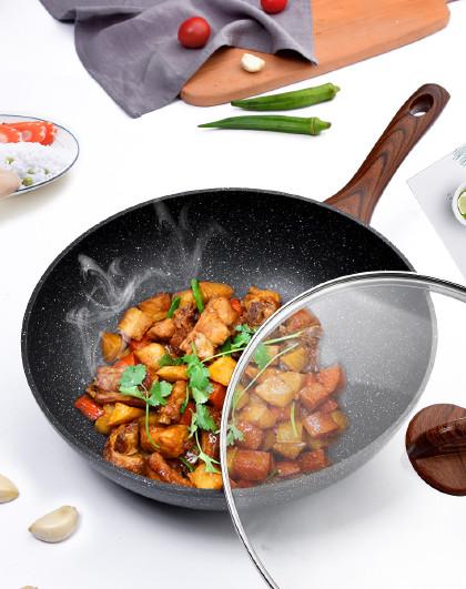 乐扣乐扣 麦饭石色带盖煎锅多灶通用不粘锅炒锅