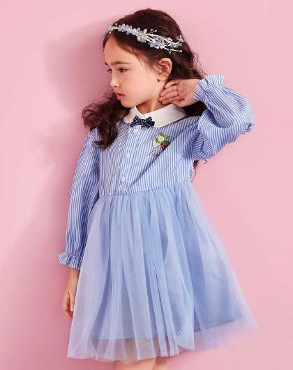 笛莎 Deesha2018春秋季新款童装女童拼接连衣裙6-12岁