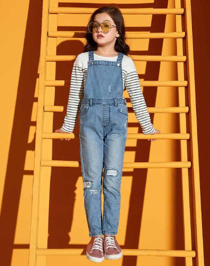 笛莎 Deesha2018春秋季新款童装女童印花牛仔背带裤6-12岁