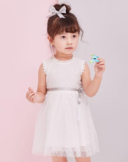 笛莎 Deesha2018夏季新款童装小童波点网纱连衣裙3-6岁
