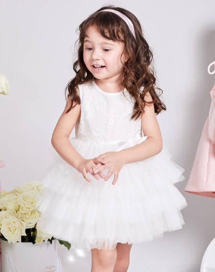笛莎 Deesha夏季新款童装蕾丝网纱女童连衣裙