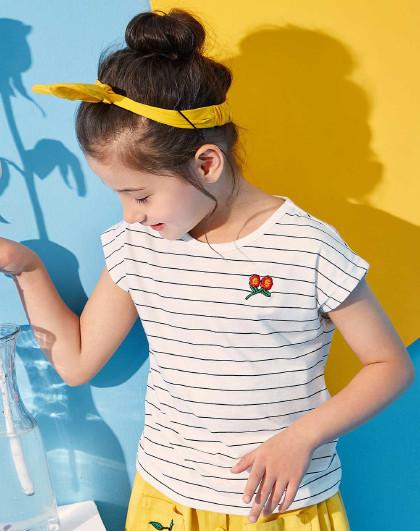 笛莎 Deesha2018夏季新款童装女童竹节棉条纹绣花T恤6-12岁