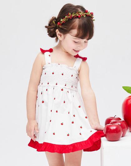 笛莎 Deesha2018夏季新款童装小童苹果印花棉质吊带裙3-6岁