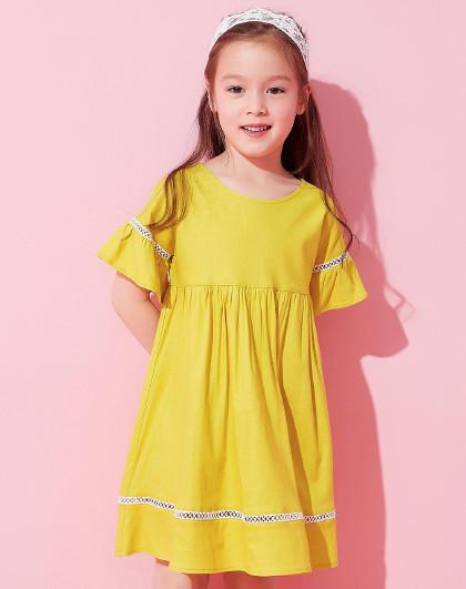 笛莎 Deesha2018夏季新款童装女童简约高腰优雅甜美棉麻连衣裙6-12岁