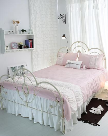 全棉斜纹粉色床单被套床上用品纯棉四件套床上四件套