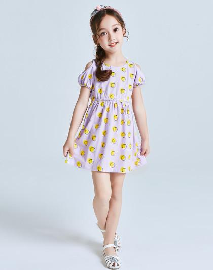 南极人 夏上新女童连衣裙3-10岁女童夏装公主裙短袖连衣裙