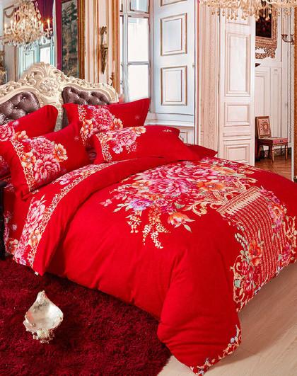 1.5米1.8米全棉磨毛床单被套套件四件套纯棉床上四件套