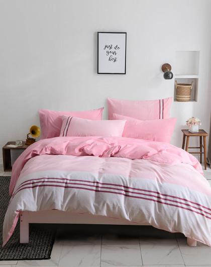 韩式简约素条纹单双人色织水洗全棉床单床笠式床上用品纯棉四件套