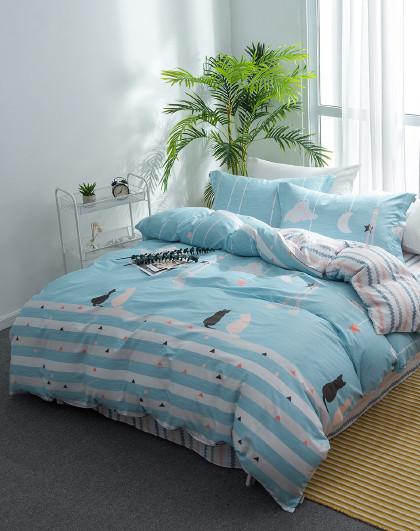 1.5米1.8米全棉单双人被套床单床上用品纯棉四件套床上四件套
