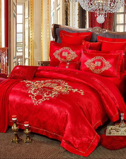 1.5/1.8米全棉结婚大红绣花被套床单婚庆套件床上四件套