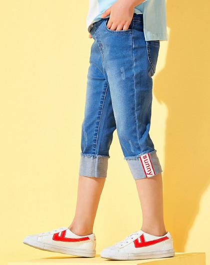 笛莎 Deesha2018夏季新款童装女童时尚卷边七分牛仔裤6-12岁