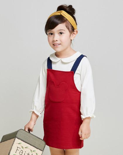 笛莎 Deesha2018秋季新款女童童装小童撞色小熊贴袋背带裙3-6岁