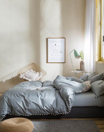 全棉水洗棉纯色时尚北欧套件1.5/1.8纯棉床上用品四件套