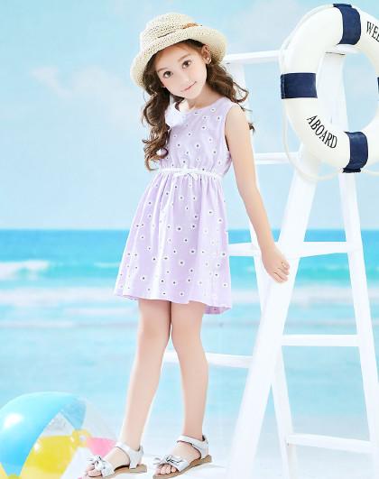 南极人 童装夏季新款女童夏装连衣裙公主裙无袖连衣裙女童连衣裙