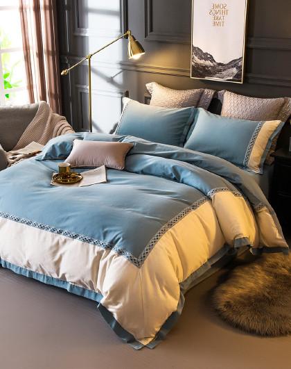 1.5米1.8米单双人全棉磨毛被套床单床上用品纯棉四件套