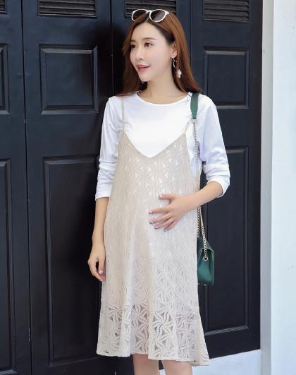 soieplus 少宜春季孕妇装镂空蕾丝优雅孕妈两件套连衣裙