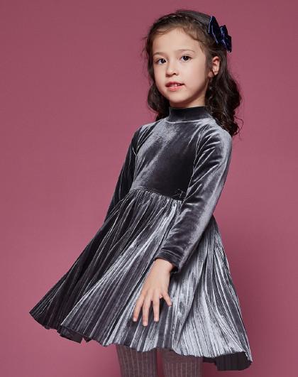 笛莎 Deesha2018冬季新款童装女童海岛绒长袖套头连衣裙