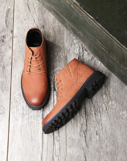 红蜻蜓 牛皮革加绒工装鞋男款短靴英伦风高帮男棉鞋工装靴军靴男马丁靴