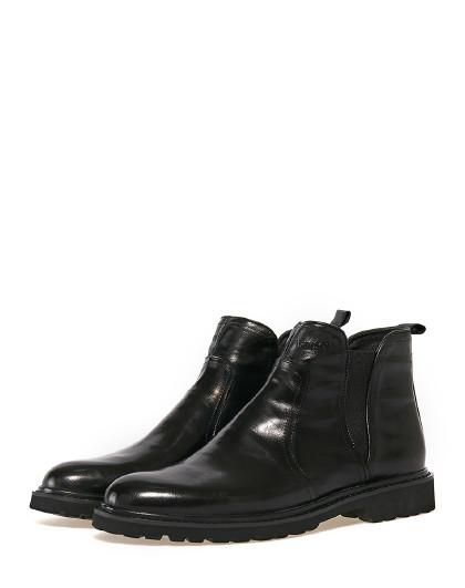 哈森 胎牛皮靴潮流休闲靴男加绒保暖切尔西靴MA86656