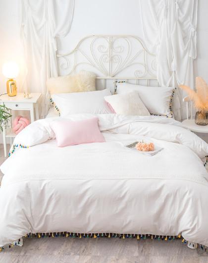全棉公主风蕾丝单双人亲肤床单被套床上用品纯棉四件套