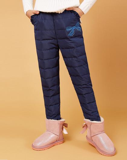 笛莎 Deesha冬季新款童装儿童冬裤绣花女童羽绒裤子