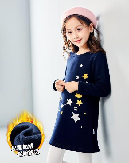 南极人 女童装3-10岁中大童不倒绒加绒女童冬裙女童裙子女童连衣裙秋冬
